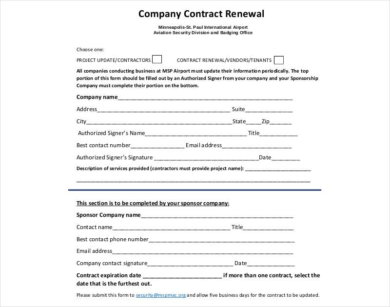 company contract renewal