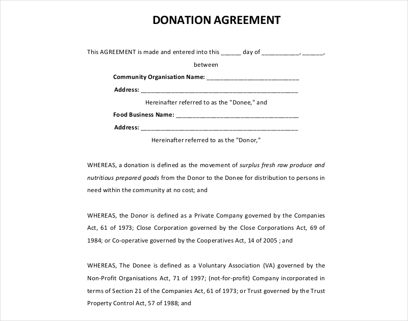 company donation agreement