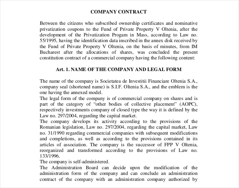 company ownership contract