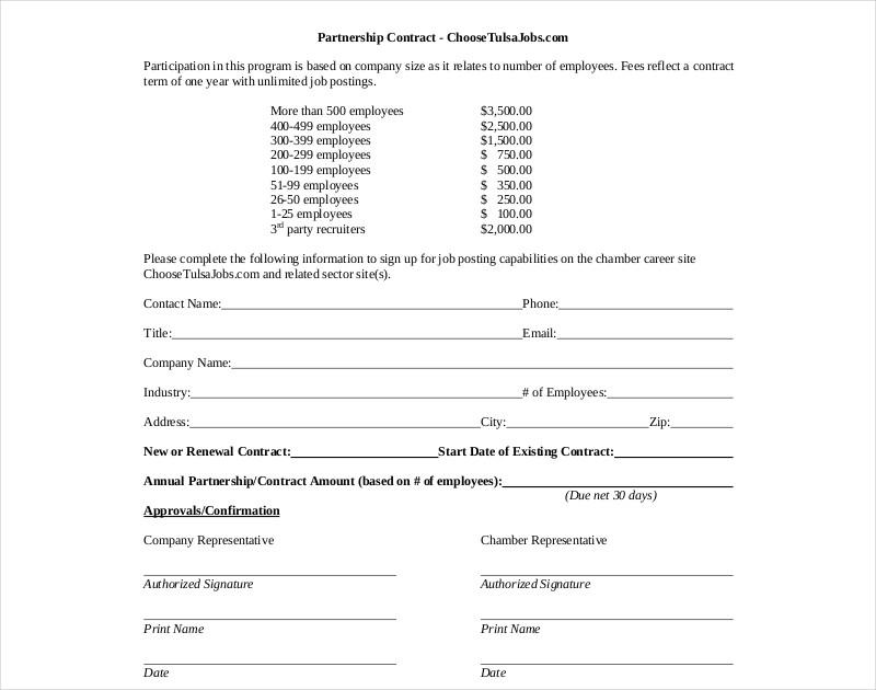company partnership contract