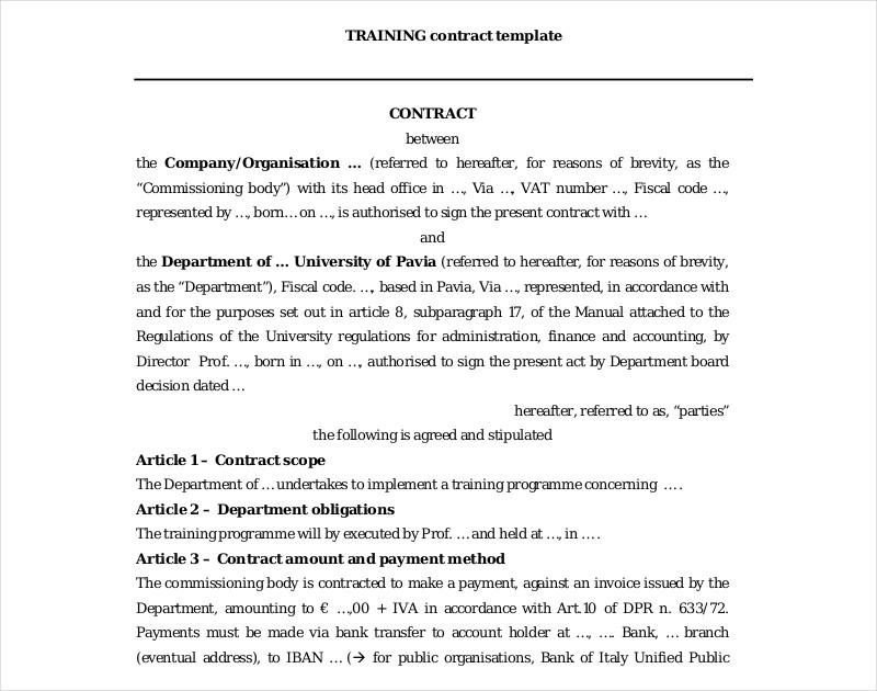 company training contract