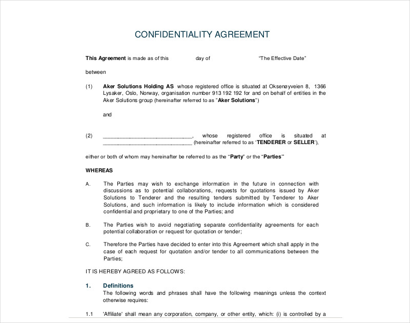 confidentiality agreement example