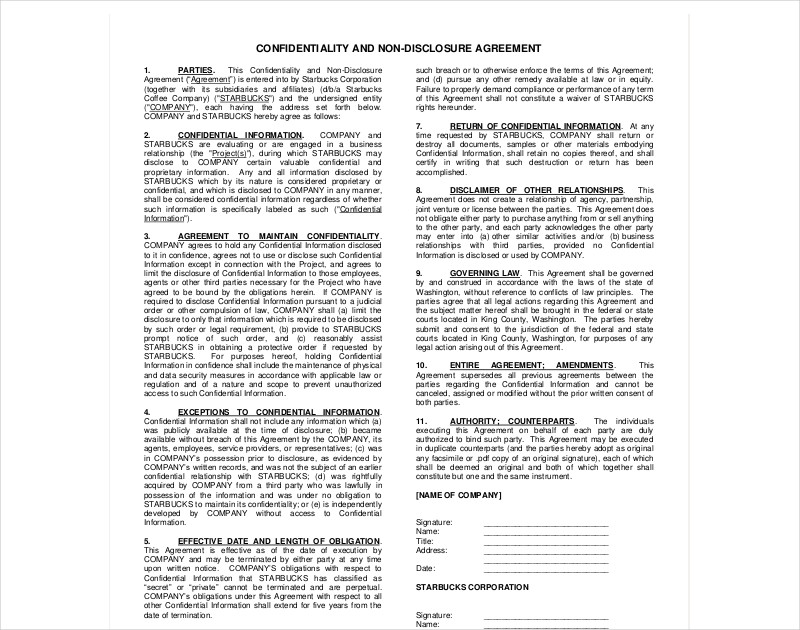 confidentiality and non disclosure agreement1