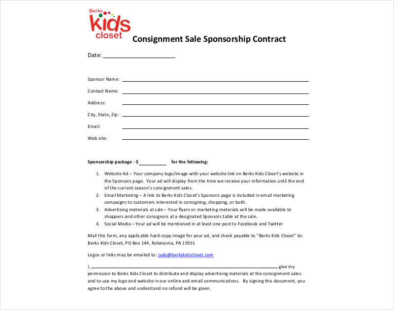 consignment sale sponsorship contract