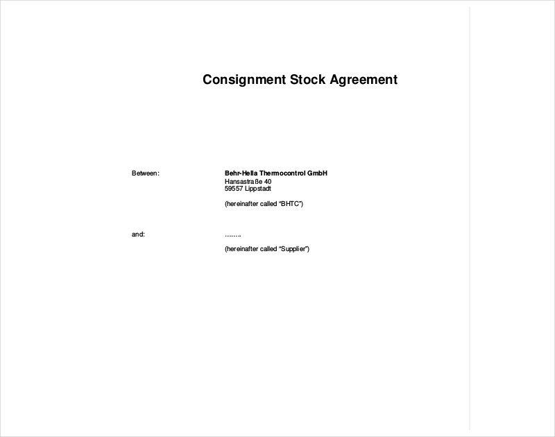 consignment stock agreement