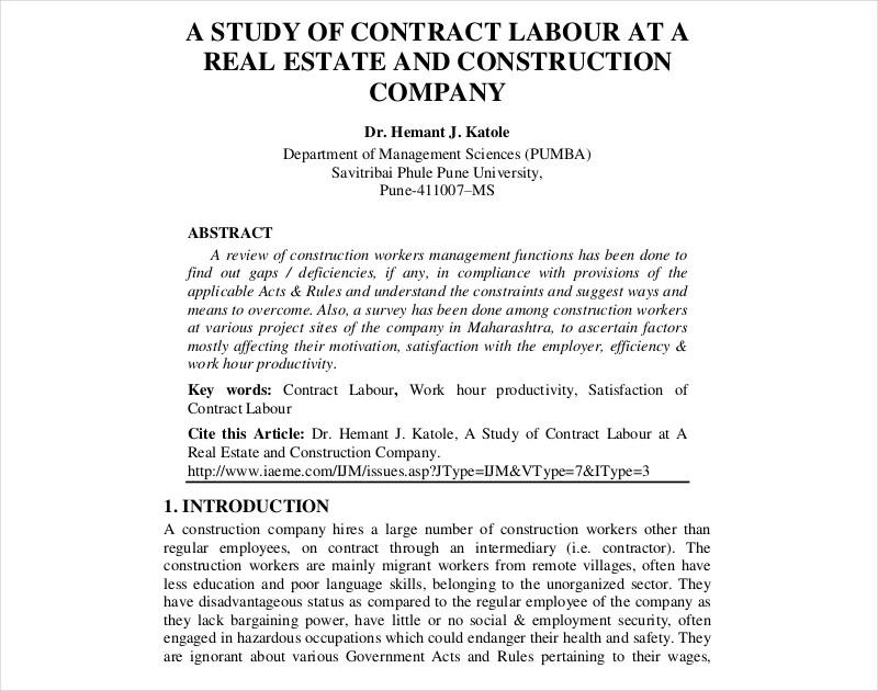 construction company contract