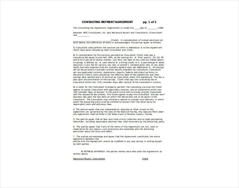 consulting payment agreement