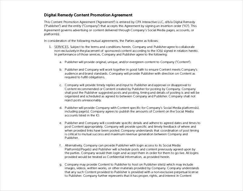 content promotion agreement