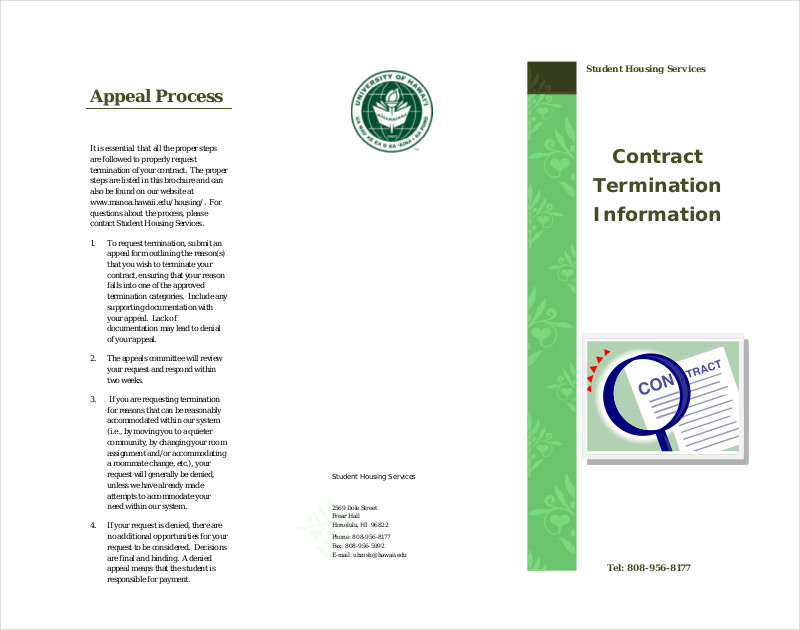 contract termination information