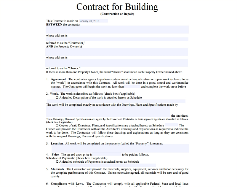 contract for building construction