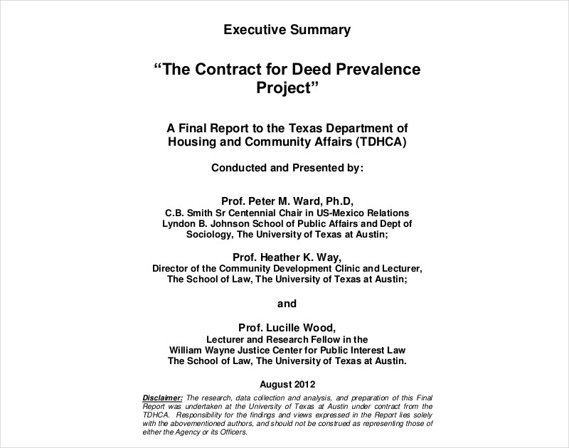 contract for deed prevalence project