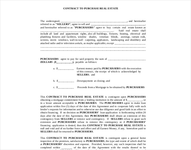 contract to purchase real estate