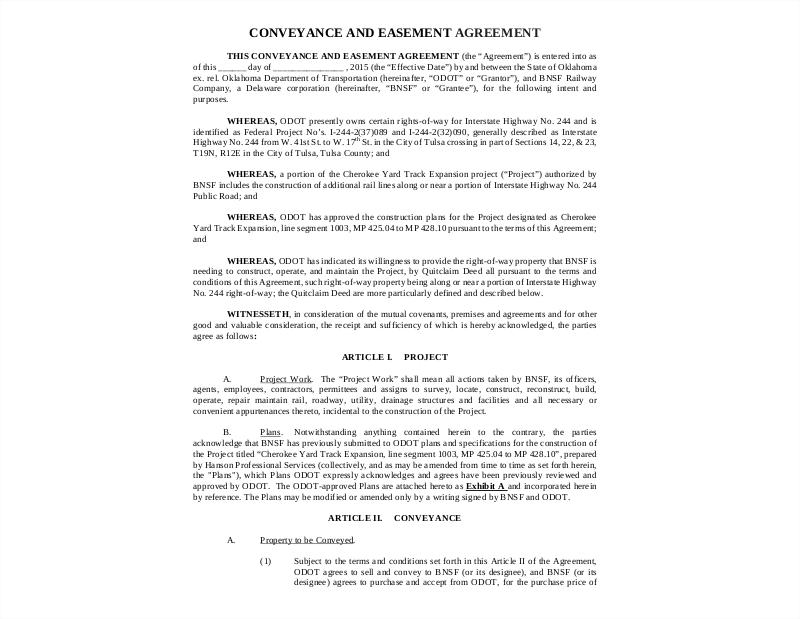 conveyance easement agreement