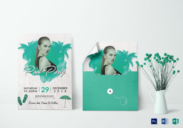 cool pool party invitation template