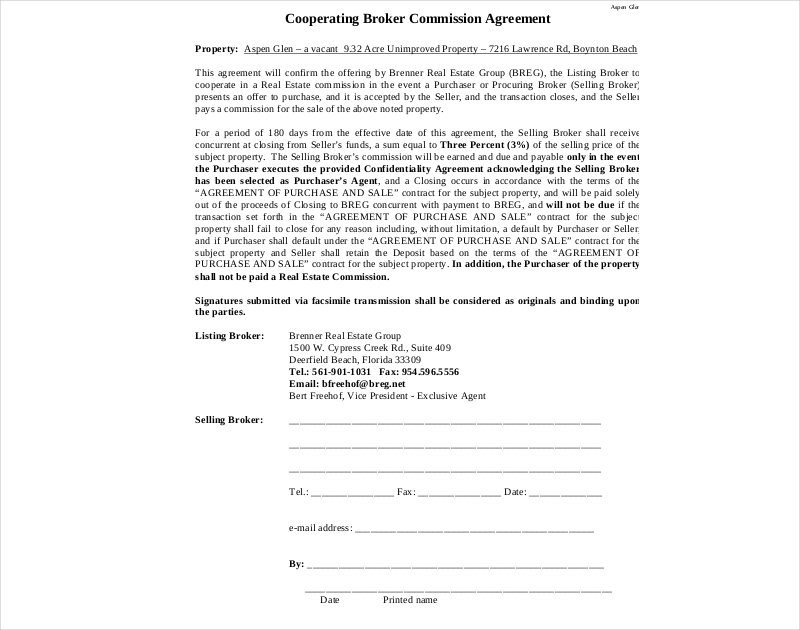 cooperating broker commission agreement