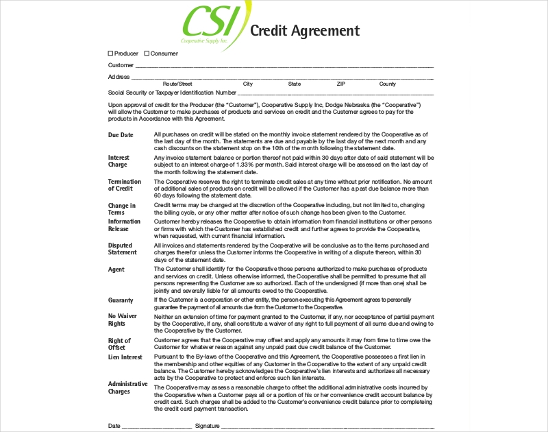 cooperative credit agreement