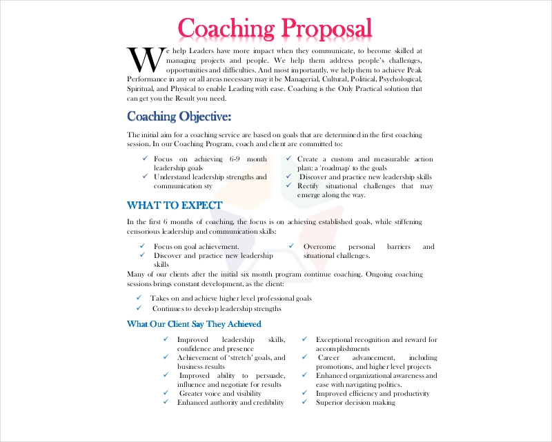 9 Coaching Proposal Examples Samples In Pdf