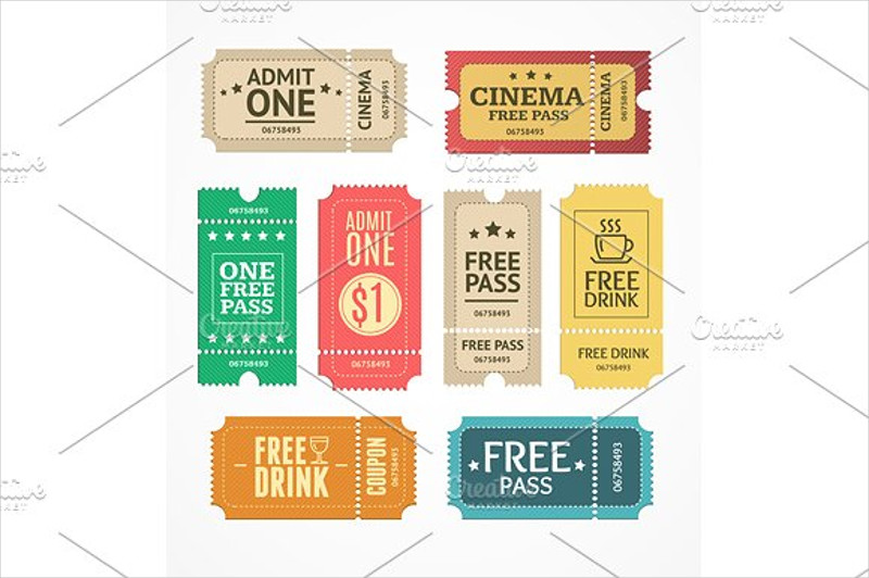 coupon and tickets set
