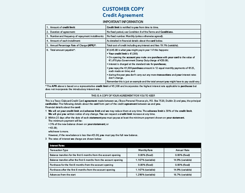 customer credit agreement