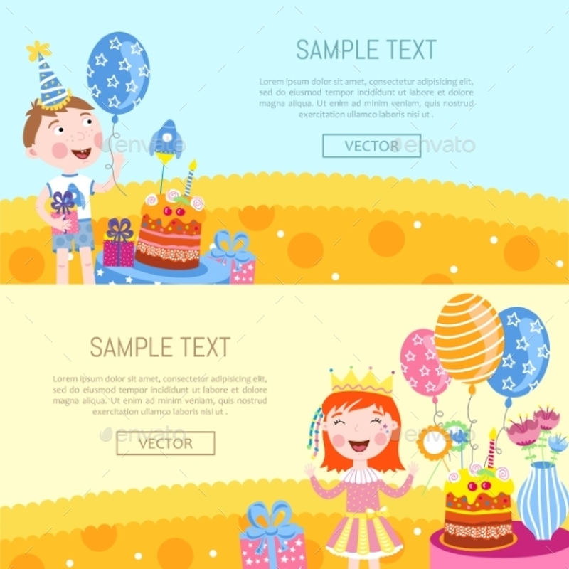 cute happy birthday banners vector