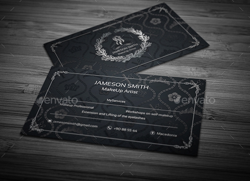 dark makeup artist business card