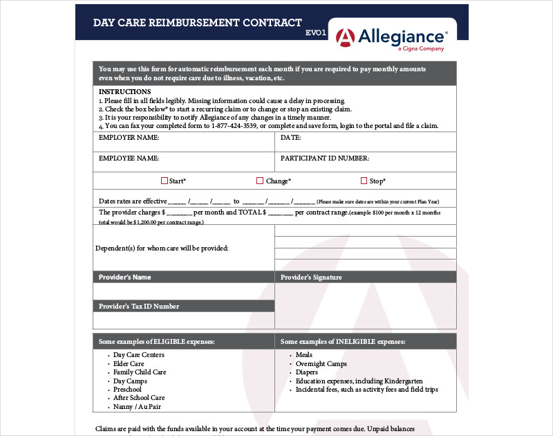 day care reimbursement contract