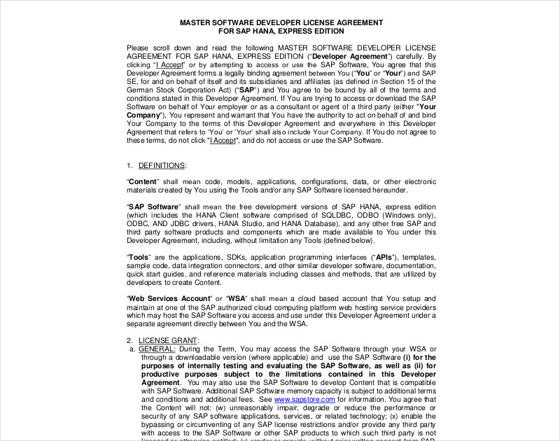 developer license agreement1
