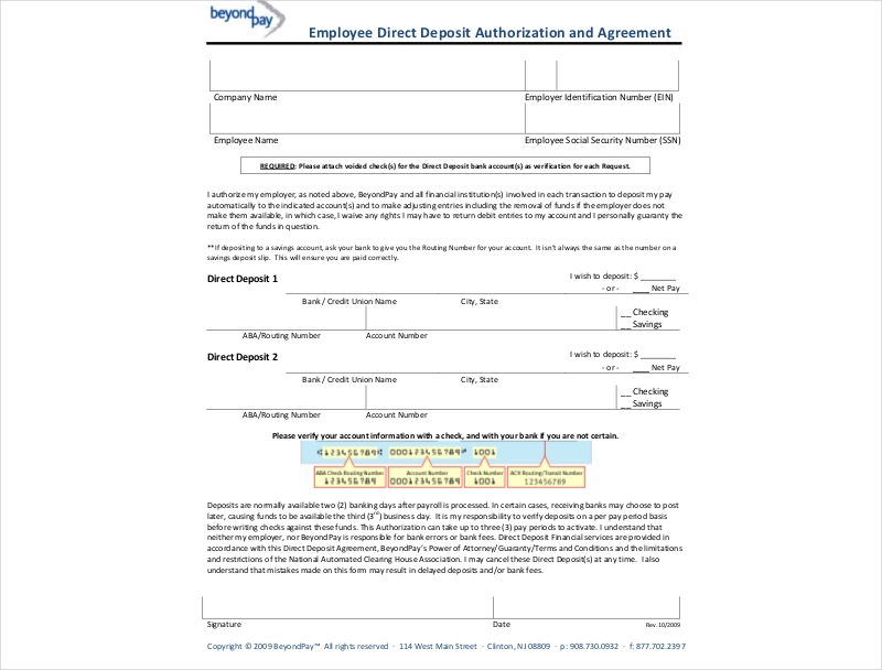 12 Direct Deposit Agreement Examples Pdf Doc