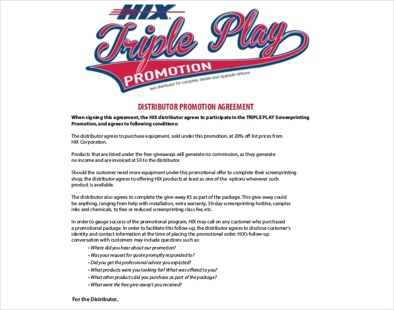 distributor promotion agreement