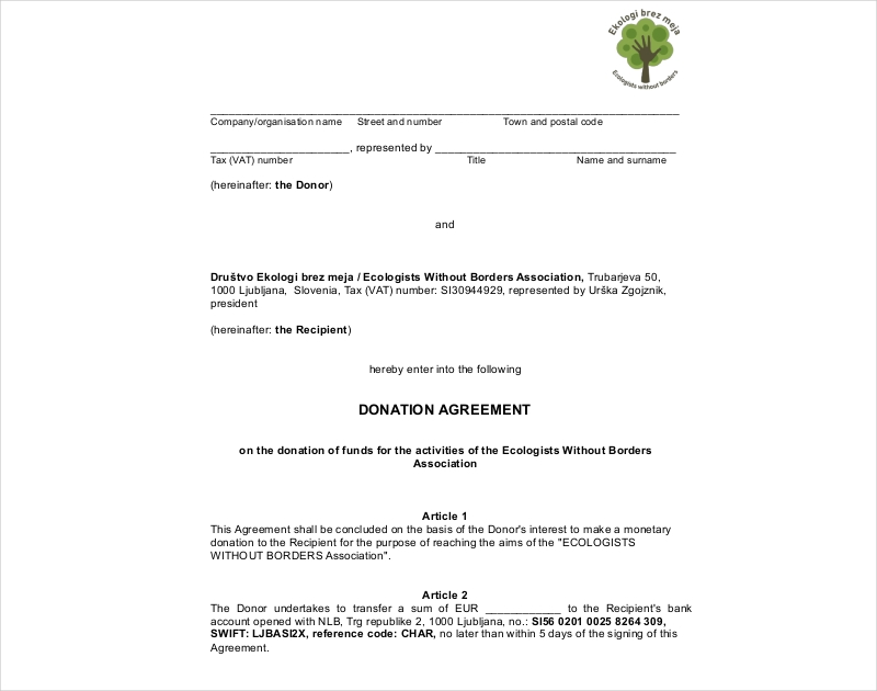 donation agreement example
