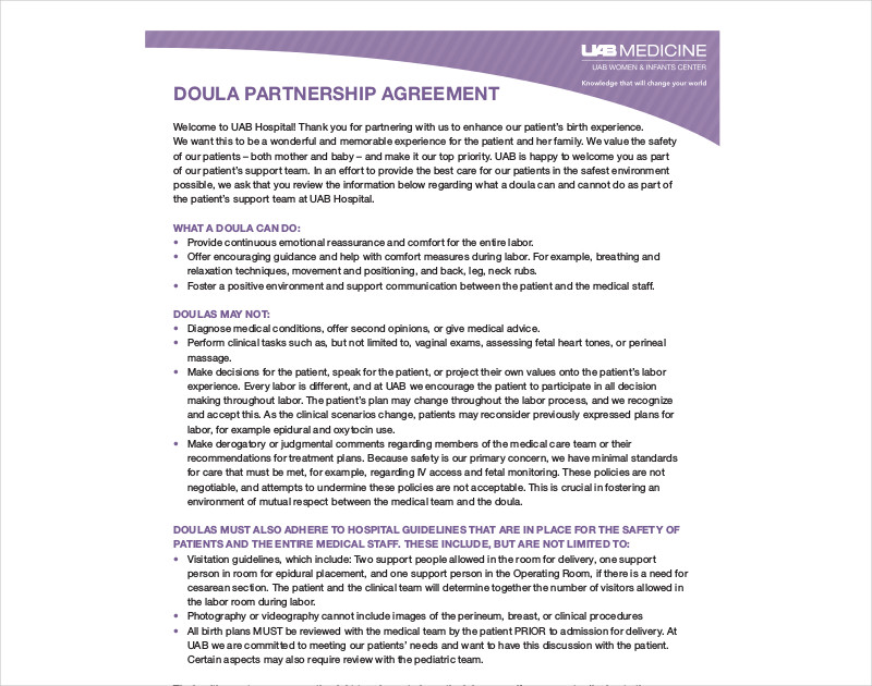 doula partnership contract