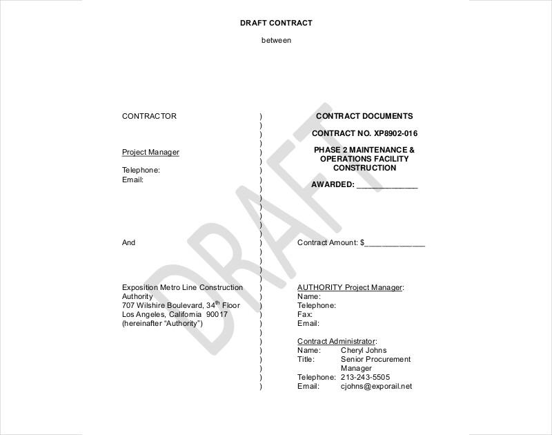 draft contract between contractor