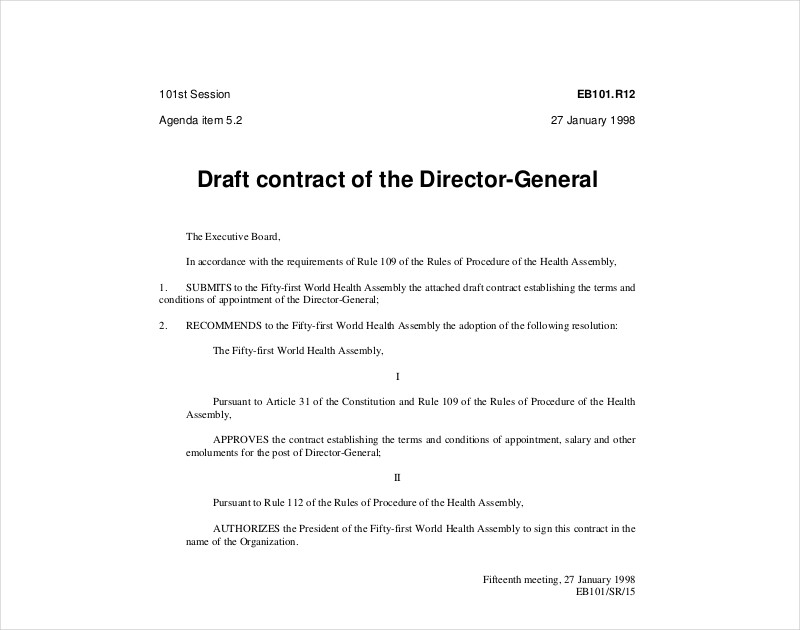 draft contract of the director general