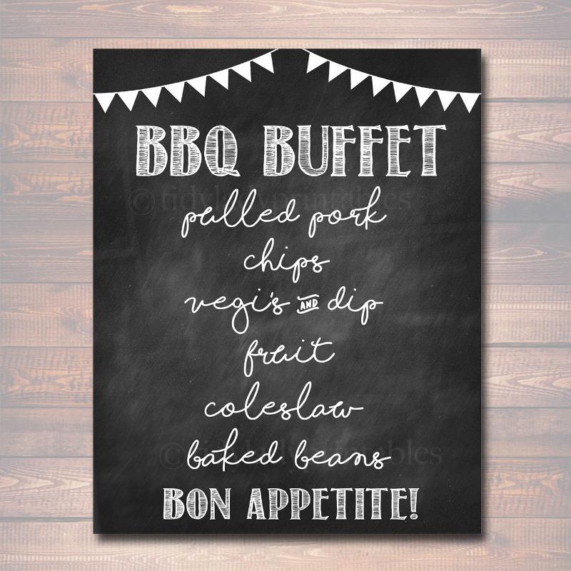 editable bbq menu sign