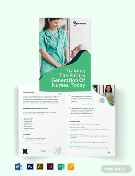 eldridge school of nursing bi fold brochure template