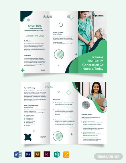 eldridge school of nursing tri fold brochure template