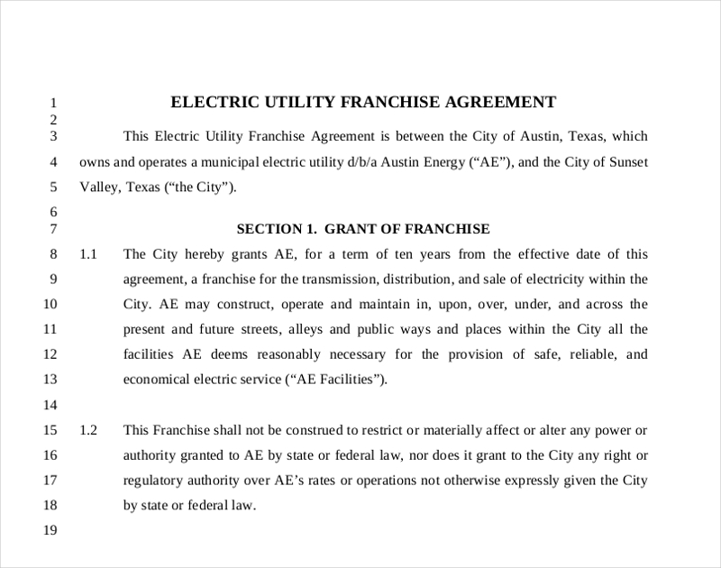electric utility franchise agreement