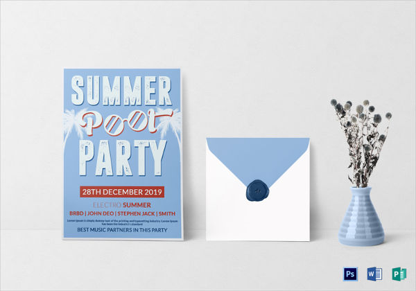 electro summer party invitation