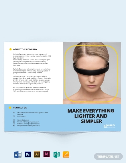 electronic product bi fold brochure template