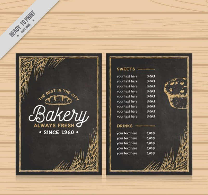 elegant bakery menu with drawings