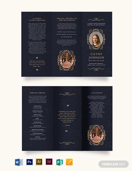 elegant funeral obituary tri fold brochure template