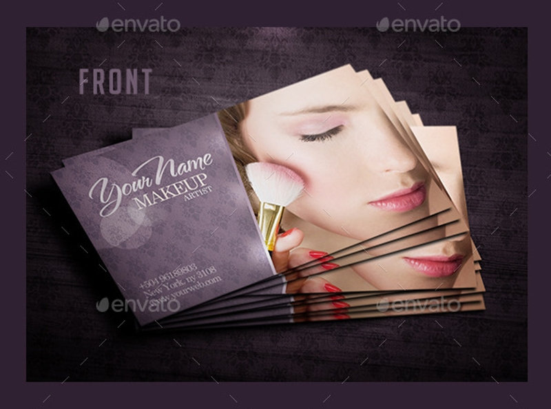 elegant makeup artist business card