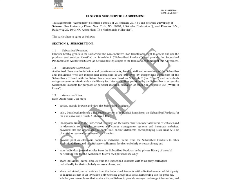 elsevier subscription agreement