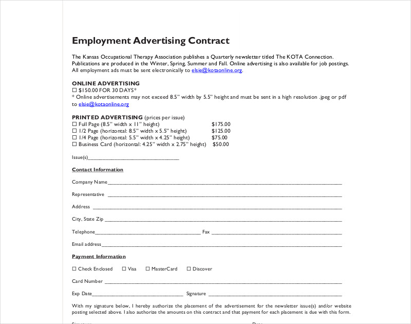 employment advertising contract