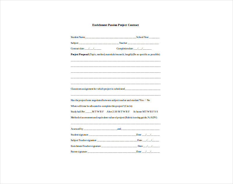 enrichment passion project contract