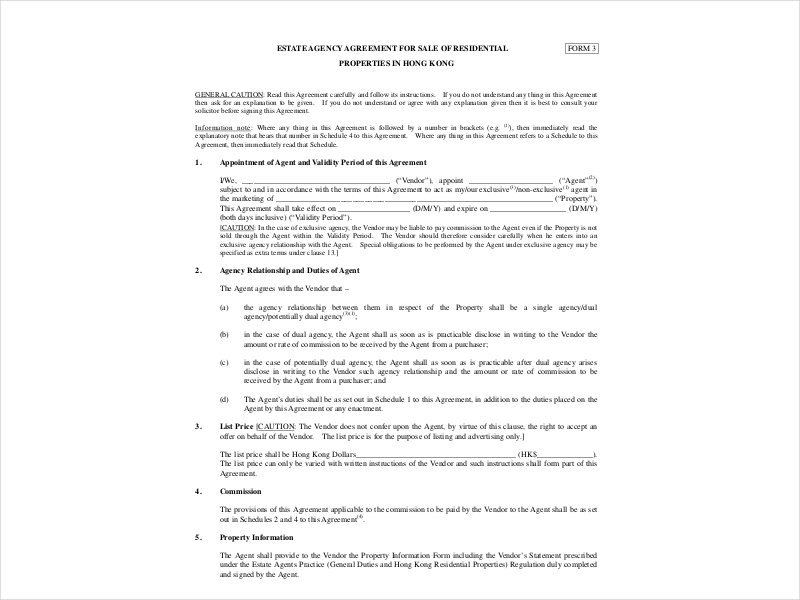 Estate Agency Agreement