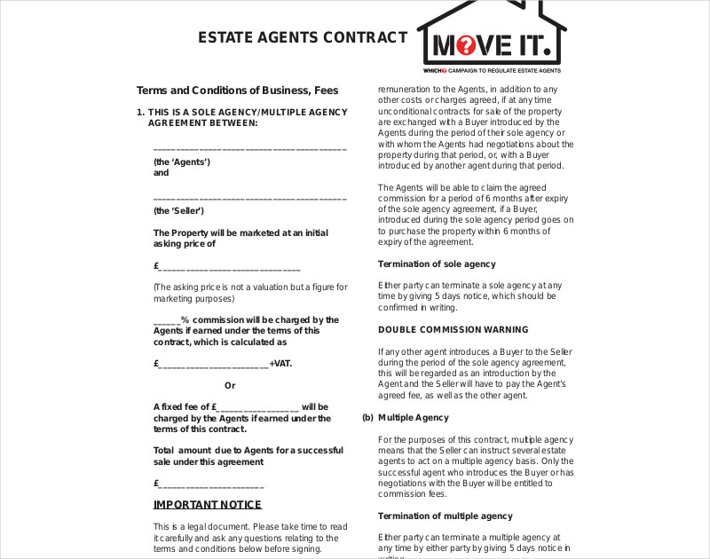 estate agent contract