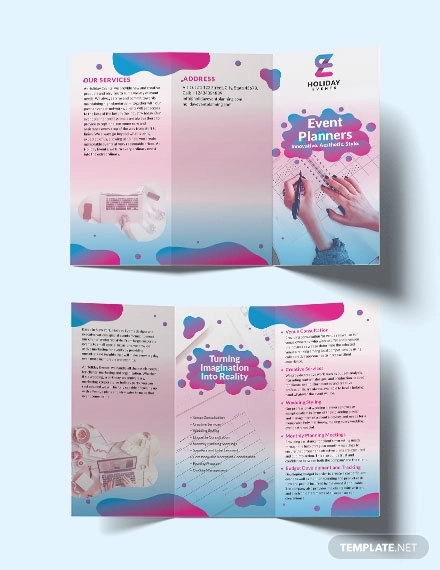 event planner tri fold brochure template