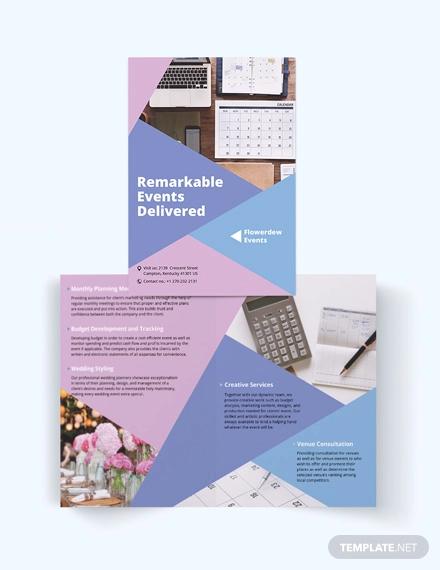 event planning bi fold brochure template