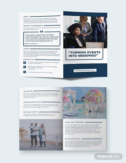 event planning business bi fold brochure template